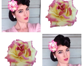 Was 8 now 5** Pink and Yellow Single Rose Hairclip
