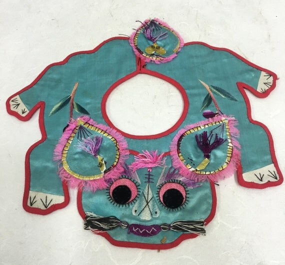 Collar Chinese Silk Baby Turquoise Tiger Collar Good Luck Handmade Turquoise Embroidered Spirit Good Luck Protection Baby Unique
