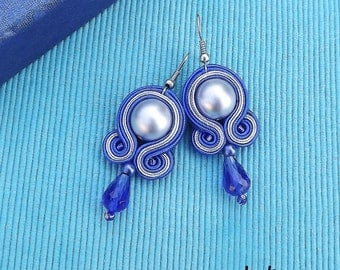 Shappire & Silver DOME Soutache Earrings