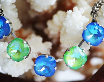 VIBRANT Bold & Beautiful Swarovski 12mm Crystal Necklace, Ultra Bright Blue and Green Crystals, Rolo Chain, STUNNING Splash of Color, Prom