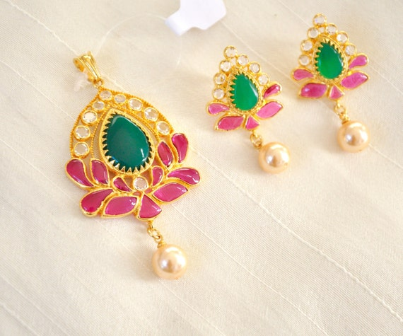 Tear drop pendant set and earrings in ruby and emerald with a pearl droplet, gold plated south Indian jewelry, great as a gift for sister
