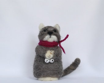 Needle felt grey and white cat with red scarf and bells