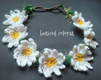 Daisy Crowns, wild camomile, Boho Flower crown, mini daisy crochet, white flower crown, flower crown,daisy necklace, flower girl gift