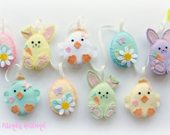 Easter decorations etsy make your own felt easter friends garland kit easter decorations sewing pattern easter negle Images