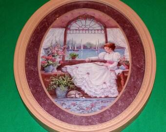 Victorian Seaside Retreat Woman Reading  Large Oval Print Vintage 17 x 13 Stunning Framed Art
