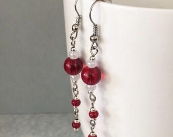 Valentine earrings, red dangle earrings, red earrings, red drop earrings, red beaded earrings