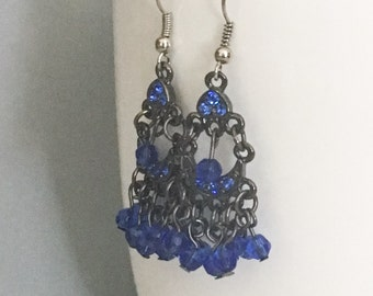 Blue dangle earrings, blue earrings, blue bead earrings