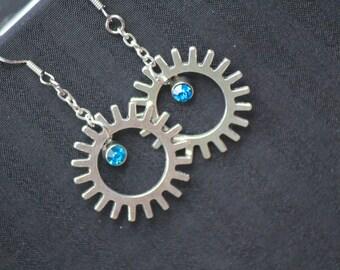 Silver & Light Blue Gear Earrings