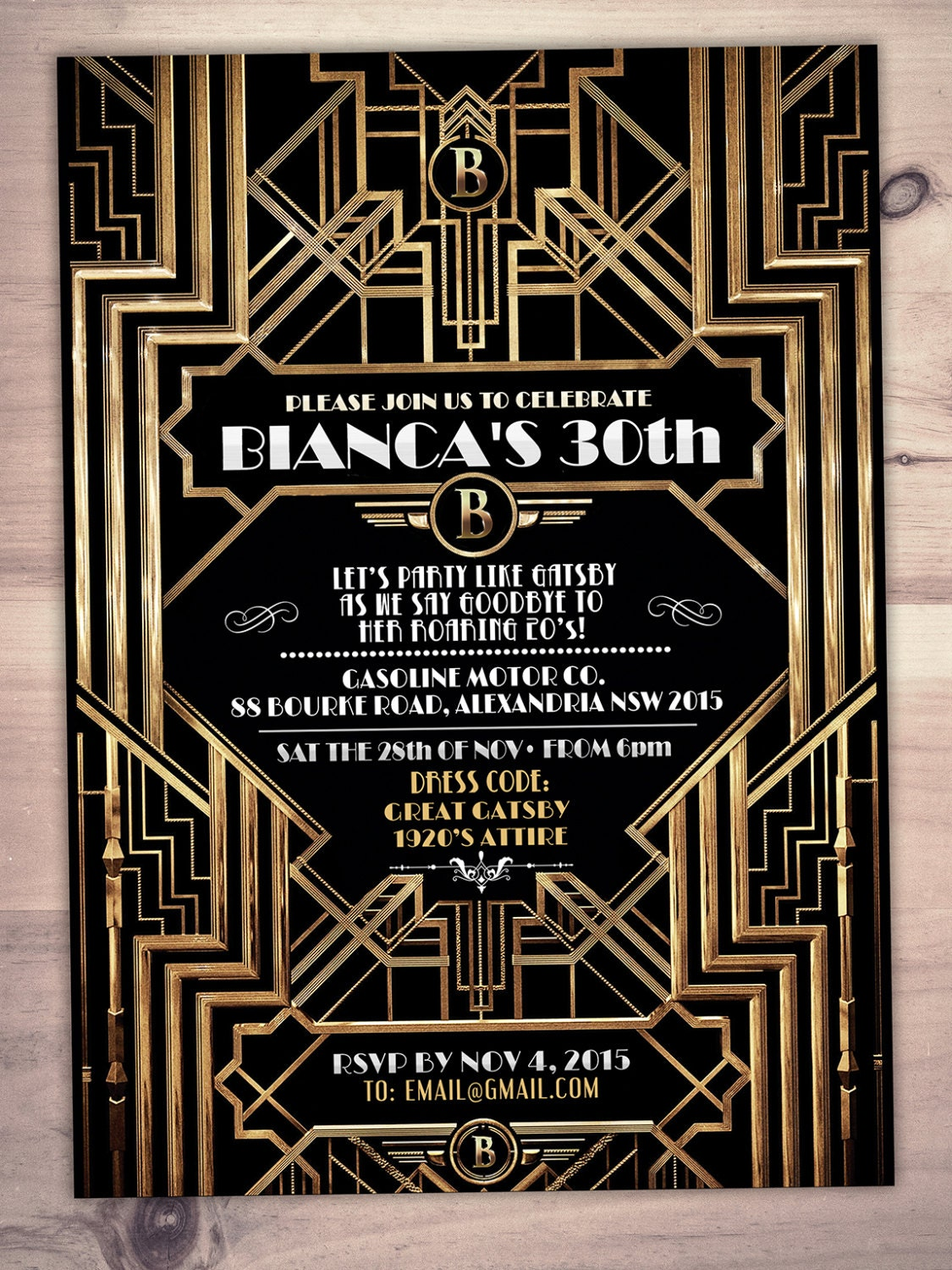 great gatsby birthday invitation  roaring 20 u0026 39 s  hollywood