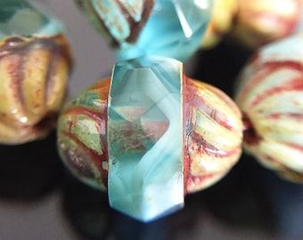 Aqua Blue Glass Turbine Beads, Czech Glass Turbine Beads with Picasso Finish, Blue Glass Bicone Beads, 11x10mm - 10 beads (TUR-02)