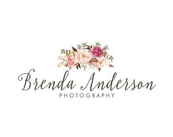 Photography logo premade logo design floral bouquet logo flowers logo bohemian logo business logo custom logo design