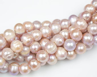 11mm Large Hole Freshwater Light Peach Pearl, 8 Inch Strand