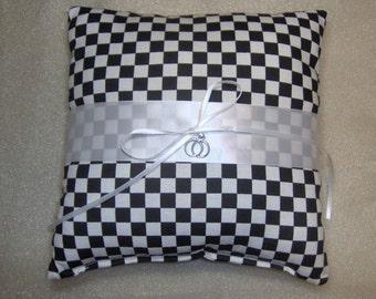 Car racing checkered flag wedding ring bearer pillow black white check