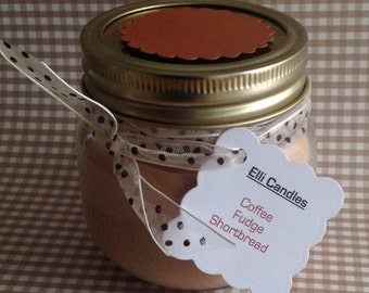 Coffee, fudge & shortbread scented candle. Light this candle mid-morning, put the kettle on and open the biscuit tin...