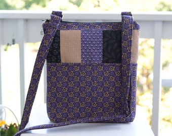 JUST ENOUGH Cross Body Purse - 2 outside pocket, back zip pocket, adjustable strap - purple cream reproduction 1800s fabric