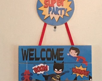 Superhero Birthday Door Sign