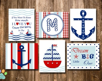 Set of 6 Nautical nursery wall prints, anchor crib bedding, red navy blue baby art, kids wall decor, whale anchor sailboat quotes, monogram