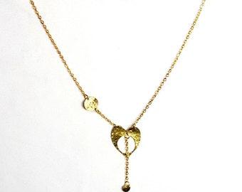 Brass Heart Necklace Handmade by  MysticTrinketShop.com