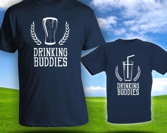 Drinking Buddies Matching t-shirts- Father son matching shirts, Gifts for Him, Gifts for Dad, father's day gift, baby bodysuit CT-593-595