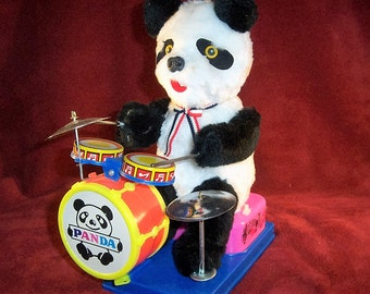 Vintage Alps Toy, Japan  Battery Operated Drumming Panda Bear Toy MINT Condition Works