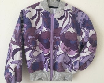 Vintage 70's Floral Print Bomber Jacket • Handmade • One of a Kind • Cropped • S-M • Purple • Retro