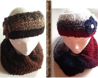Three colors Scarf and Handband with Flower, Knitted Ear Warmer and Infinity Scarf Set