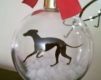Greyhound Silhouette Dog in the Snow (version 1) Acrylic Bauble can be Personalised