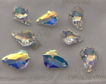 4 pieces Swarovski #6090 22x15mm Crystal AB Baroque Pendant Faceted Beads