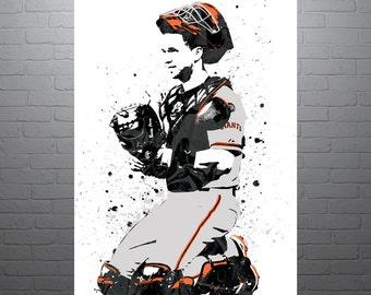 Buster Posey San Francisco Giants, Sports Art Print, Baseball Poster, Kids Decor, Watercolor Contemporary Abstract Drawing Print, Man Cave