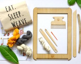 Weven van frame-loom kit - leer te weven met Le Petit Moose