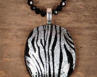 Large Zebra Silver & Black Fused Glass Pendant