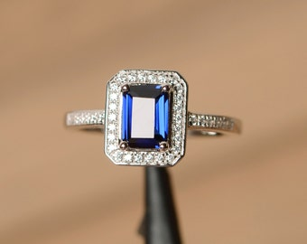 sapphire ring sterling silver birthstone ring anniversary ring sapphire gemstone emerald cut blue sapphire engagement ring