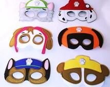 Paw Patrol Set of  6,  12 , 18 or 24 Paw Patrol inspired felt masks, Paw Patrol party favors Dress up Halloween
