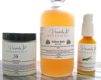 Organic Skin Care Set, All skin types, Vitamin Moisturizer, Willow Bark Toner, Silk Face Cleanser, Organic skin care set, Natural skin care