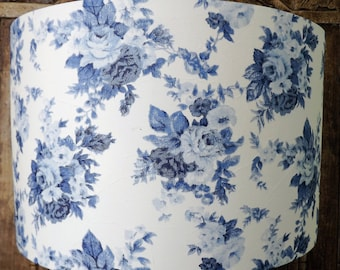 Blue and white Rose Floral Lampshade shabby chic lamp shade cottage bedroom Free Gift