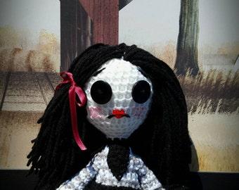 Gothic doll,raven,crochet,gift,creepy,halloween,emo,rocker,dark,crow