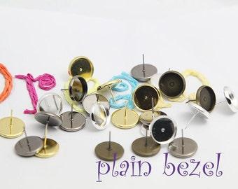 100pcs(50pairs) Earring Stud, Earring Blank, Bezel Earring Stud Blank