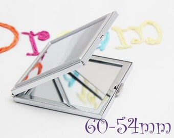 Kits - 60mm Square Compact Mirrors Supply - Blank Compact - 54mm Square Blank Compact Tray - Epoxy Sticker in Optional