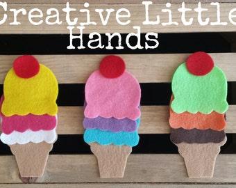 Felt Ice Cream Cones for felt board or busy bag