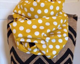 handmade cotton yellow polka dot infinity scarf