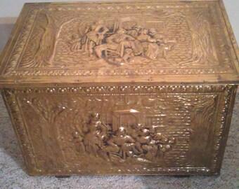 Antique Victorian Embossed English Pub Scenes Brass On Wood Coal Box  Firewood Storage