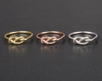 Bague noeud argenté pour le noeud d'amour ou amitié anneau-mariage bijoux-Rose noeud bague - bague de promesse argent bague-demoiselle d'honneur