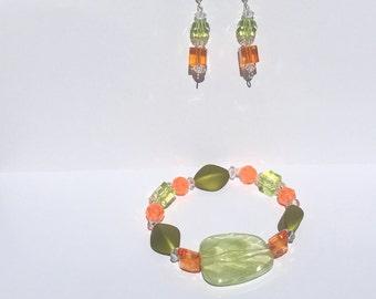 Earrings & stretch bracelet-olive green light green and orange acrylic beads