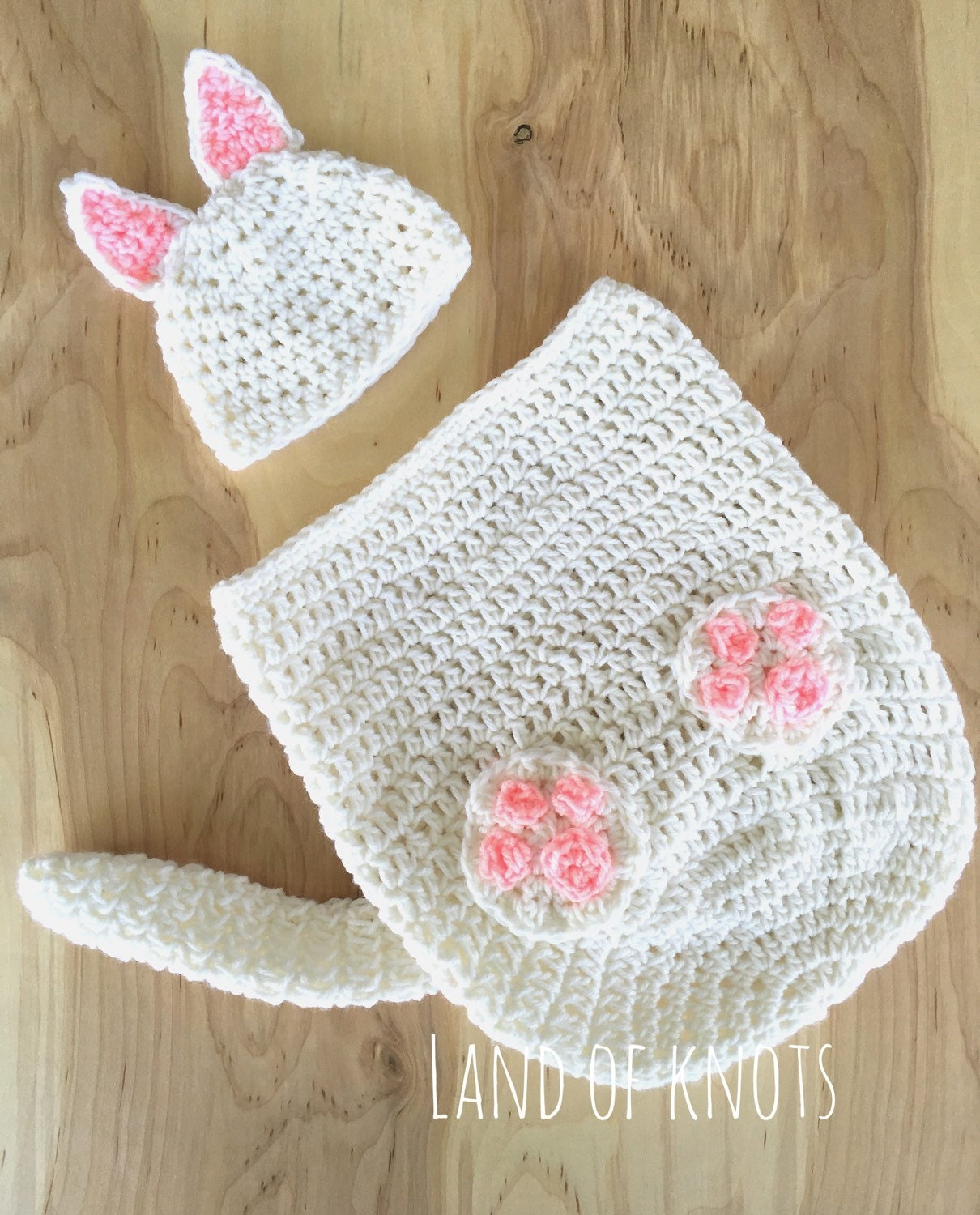 crochet cat outfit newborn cat swaddle white cat hat