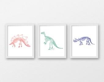 Dinosaur Skeleton Art Print Set - Children's Wall Art - Toddler Room Decor - Dinosaur Art - Set of 3