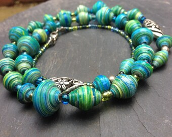 Turquoise Blue Paper Bead Necklace