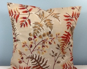 Fall pillow. Autumn leaves. Rust, burgundy, tan, pine green. Leaf pillow. Autumn decor. Fall decor. Botanical Decorator throw pillow cover.
