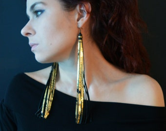 Very Long Earrings, Extra Long Black/Gold Earrings, Leather Earrings.