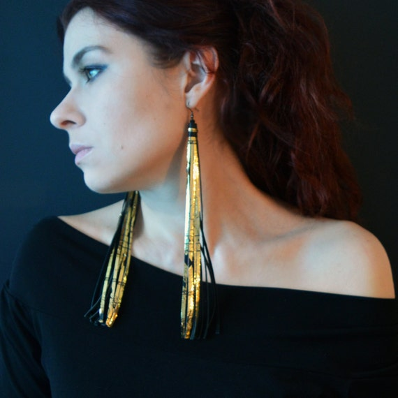 very long earrings extra long blackgold earrings leather