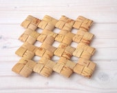 Small Wicker Hot Pad -Birch Bark Coasters - Kitchen Decor - Rustic Style - Art for Kitchen - Cotage Chic Style Trivet - For Teapot - For Pan